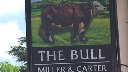 The Bull sign returns to its rightful place in Wheathampstead