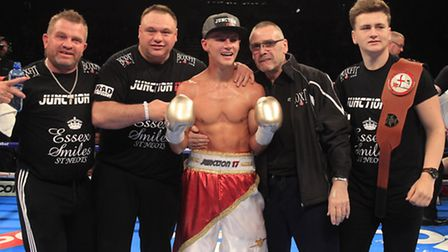 Tommy Martin celebrates his victory over Terry Needham in his last fight. Picture: LAWRENCE LUSTIG