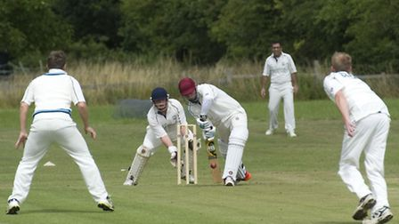 Tom Johnson batting for Yelling in their victory over Needingworth. Picture: MATT POWER PHOTOGRAPHY
