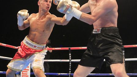 Tommy Martin in action in his last fight against Terry Needham. Picture: LAWRENCE LUSTIG