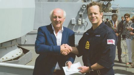 Paul Draper and the Captain of HMS St Albans