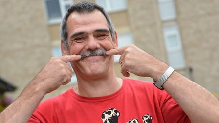 Huntingdon Town Council CaretakerRoy Chadler, has a charity wax, and moustache shave, at Belleza, Ha