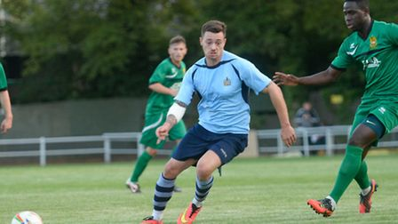 Louie Theophanous made his debut for St Albans City against Hitchin Town. Picture: Bob Walkley