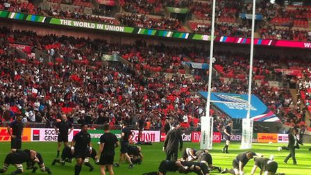All Blacks train at Wembley ahead of the Rugby World Cup clash in which they beat Argentina 26-16
