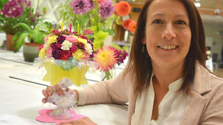 St Ives Produce Show, at the Corn Exchange, Judges Assistant Becky Shores, with her display,