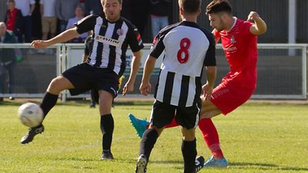 Connor Hall scores for St Neots Town in their FA Cup draw at Tilbury. Picture: CLAIRE HOWES