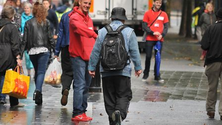 Charity workers (in red) on St Peters Street