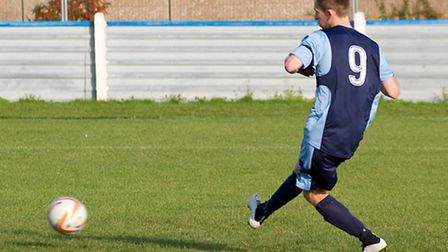 Tom Meechan struck twice to help St Neots Town to FA Cup success. Picture: CLAIRE HOWES.