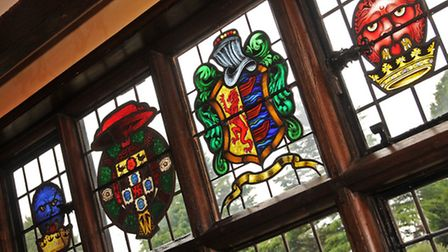 Stained glass windows in the drawing room