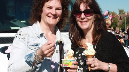 Liza Collins, and Amanda Smith, both from Cambridge cooling down with a much needed ice cream. PICTU