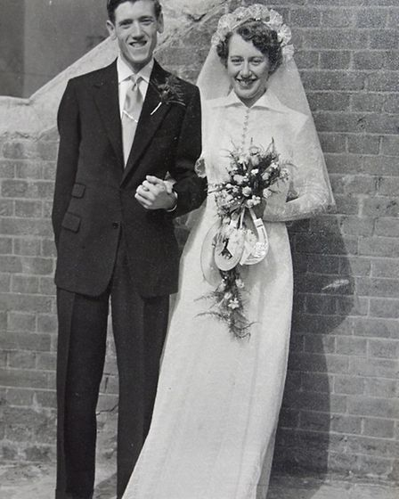 Charles and Edna Wills, celebrating their wedding anniversary, at their home in Eynesbury,