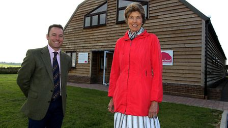 Ian Pigott, founder of Farmschool, with Lord-Lieutenant of Hertfordshire, The Countess of Verulam, a