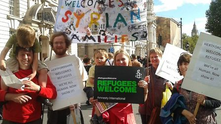 Hertfordshire folk in London on Saturday (12.9.2015) urgint eh government to do more for Syrian refu
