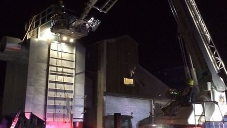 Firefighters were called to tackle a blaze in a grain store.