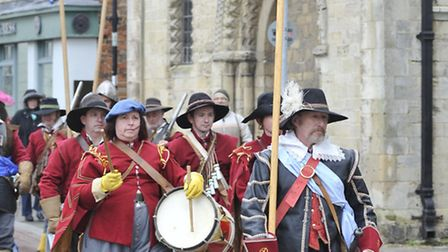 Members of Lord John Robartes Regiment outside the Cromwell Museum, in Huntingdon.