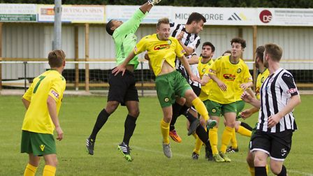 Action from St Ives Town's 1-1 draw against Godalming lastr weekend. Picture: LOUISE THOMPSON.