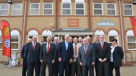 Sir John Major pictured with Hunts FA officials outside their Ambury House headquarters. Picture: HE