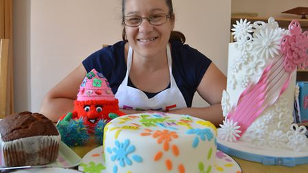 Free Cakes For Kids, bake off, Iona Wilson, with some of the cakes,