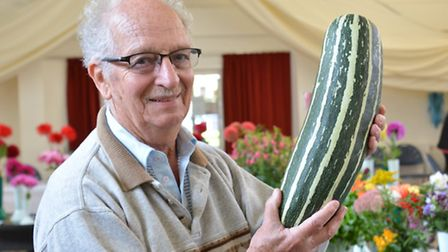 Buckden Autumn Annual Show, Vegetable Judge John Parbery, with his marrow,