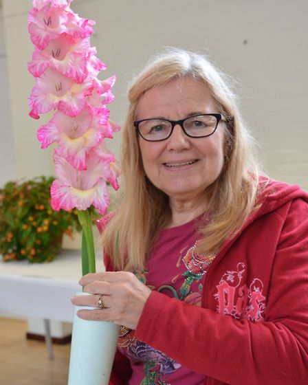 Buckden Autumn Annual Show, Chairman Pam Fraser, with her flowers,