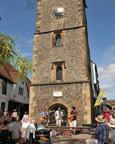 The band Whinlatter perform at the clock tower as part of the St Albans Organ festival