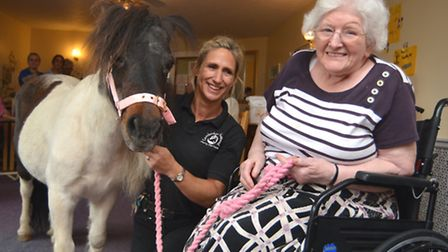 Hardwick Dene residential home in Buckden, have a visit from Cambridge Shetland Ponies Parties, (l-r