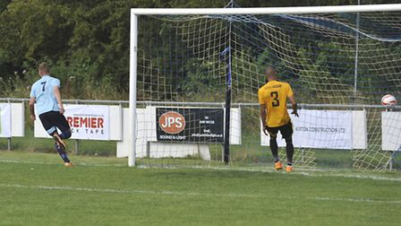 Ben Yeomans scores for Godmanchester Rovers against Stanway last Saturday.