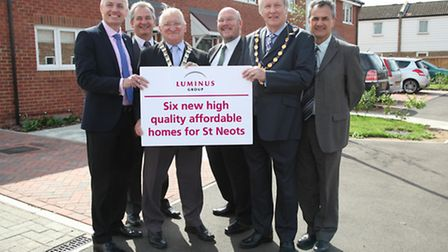 (From left to right) Nigel Finney and Andy Chapman, from Luminus, Councillor James Corley, Councillo