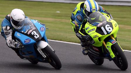 Andy Sawford (right) in action at Oulton Park. Picture: NIGEL SHEARING