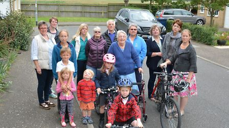 Residents from Farriers Way, Warboys, who are against building on adjecent fields,