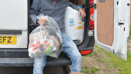 Sean Dennis, from Warboys, is collecting for refugees.