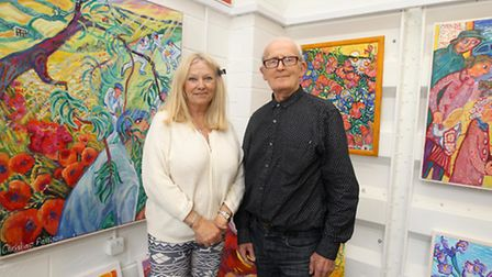 Artist Christina Pattison and Gordon Shaw in studio