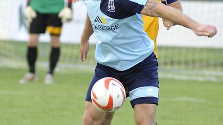 Godmanchester striker James Hall saw a penalty saved in their FA Cup exit.