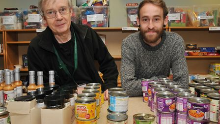 Harpenden foodbank workers John Mulholland and Daniel Abbott in their current premises within Rotham