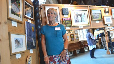 St Ives Art Group exhibition, at th Free Church, Chris Brackstone, with her work,