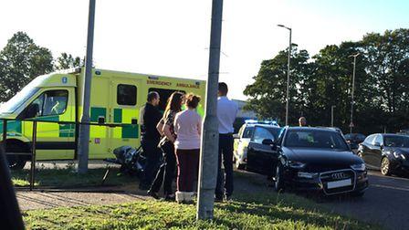 A 45 year old motorcyclist was hospitalised following a crash yesterday (Thursday)
