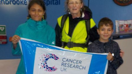 Penny Newman at the finish in Addenbrooke's Hospital.