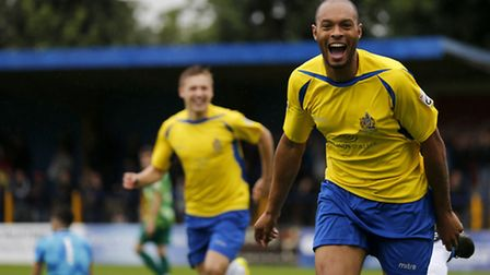 The joy is all over Simon Thomas' face after putting the Saints ahead early in the first half