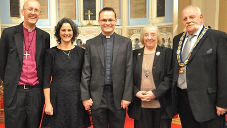 L-R Bishop of Hertford, Cherry Weir, Dr Nick Weir, Deputy Mayor of St Albans and chair of St Stephen