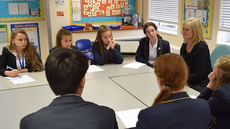 Anne Main MP with selected members of the School Cabinet and School Parliament