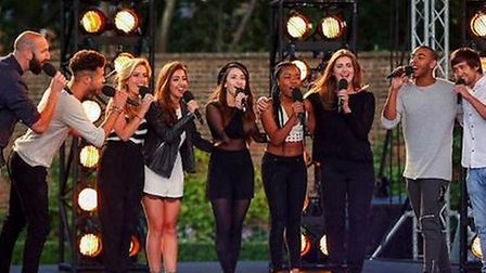 Brampton singer Abi Dhese-Biggs (middle) with girl band Mon Amie at X Factor bootcamp