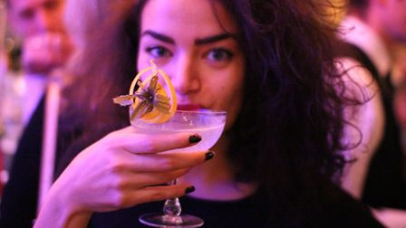 Former Herts Ad reporter Monique Hall sampling one of the world famous cocktails in the Bassoon Bar