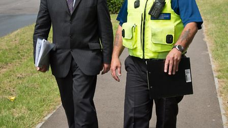 Herts police and crime commissioner David Lloyd talks over issues with a PCSO