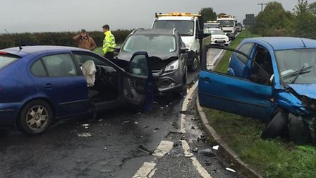 Three cars were involved in a collision on the B1040, near Wood Hurst. Picture: BCH Road Policing.