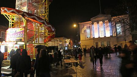 The old town hall with its christmas lights switched on