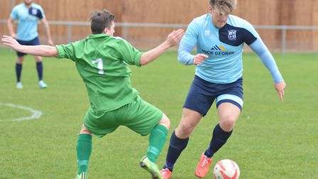 Lloyd Groves on the ball during Godmanchester Rovers' draw against Gorleston. Picture: HELEN DRAKE