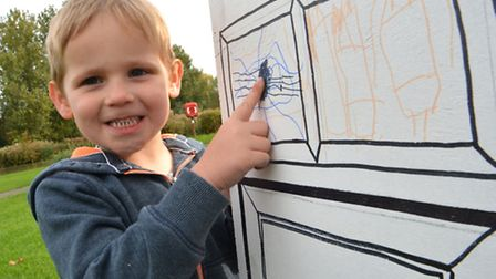 The Big Draw, Riverside Park, St Neots, Andrew, from St Neots, with his spider,