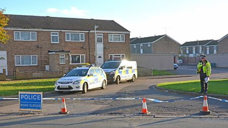 Scene of the shooting in Duck Lane, St Neots.