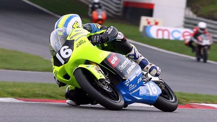 St Neots racer Andy Sawford in the final round of the HEL Performance British Motostar 125cc Champio