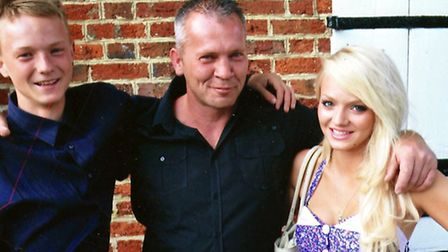 John Squires and his children, Amy, 23 and John, 21